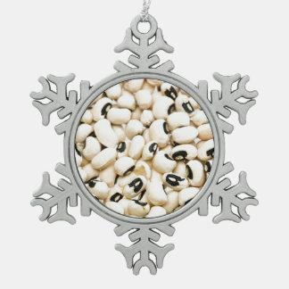 Schwarze mit Augen Erbsen Schneeflocken Zinn-Ornament