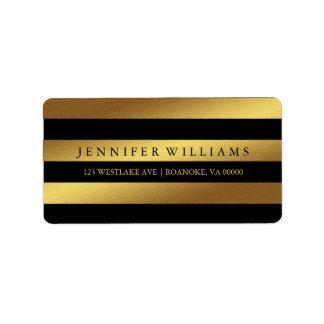 Schwarze moderne Imitat-Goldfolien-Streifen Adressaufkleber