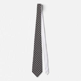 Schwarze Mops-Silhouetten auf grauem Hintergrund Bedruckte Krawatten