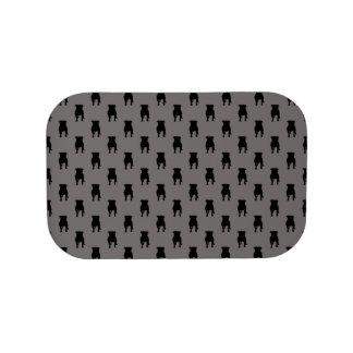 Schwarze Mops-Silhouetten auf grauem Hintergrund Brotdose