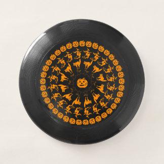 Schwarze/orange Halloween-Schriftart-Kunst kreist Wham-O Frisbee