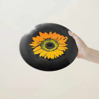 Schwarze orange Sonnenblumepersonalisierter Wham-O Frisbee