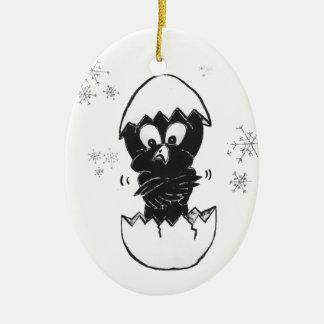 Schwarze Parakeets-Weihnachtsverzierung Ovales Keramik Ornament