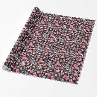 Schwarze Perlen-Kirschen Geschenkpapier