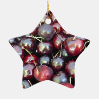 Schwarze Perlen-Kirschen Keramik Ornament