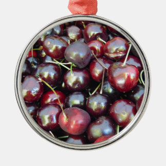 Schwarze Perlen-Kirschen Silbernes Ornament