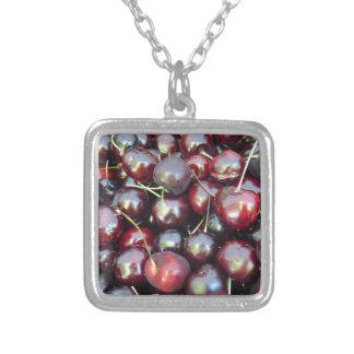 Schwarze Perlen-Kirschen Versilberte Kette