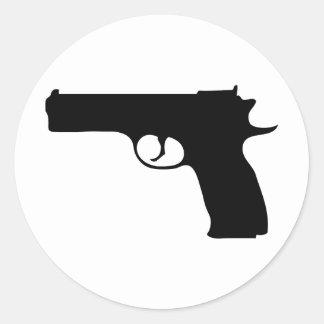 schwarze Pistolenikone Runder Aufkleber