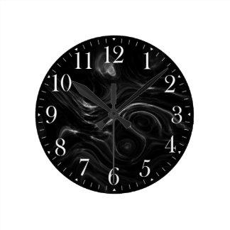 Schwarze Plasma-Energie-abstrakte Kunst-Wand-Uhr Runde Wanduhr