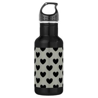 Schwarze Polkaherzen auf Pussywillow Grau Trinkflasche