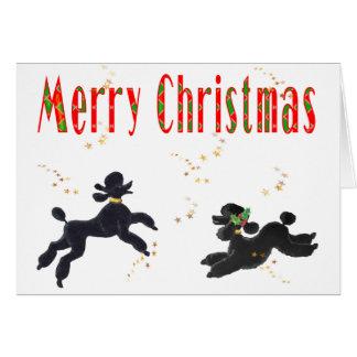 Schwarze Pudel, die frohe Weihnacht-Kunst-Karten s