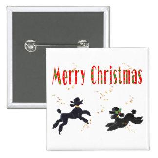 Schwarze Pudel, die frohe Weihnacht-Kunst-Knopf sp Quadratischer Button 5,1 Cm