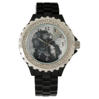 Schwarze Pudel-Hundehaustiermalerei Armbanduhr