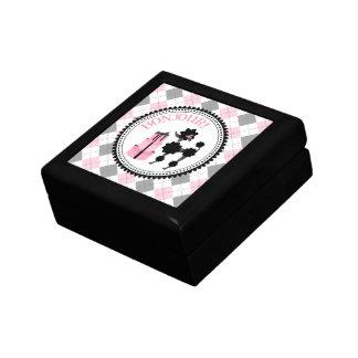 Schwarze Pudel-u. Rauten-Geschenkboxen