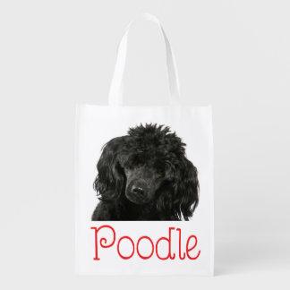Schwarze Pudel-Welpen-HundeTaschen-Miniaturtasche Wiederverwendbare Einkaufstaschen