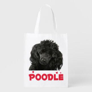 Schwarze Pudel-Welpen-HundeTaschen-Miniaturtasche Wiederverwendbare Tragetasche