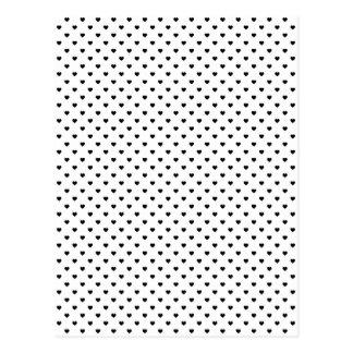 Schwarze Punkt-Herzen auf Weiß Postkarte
