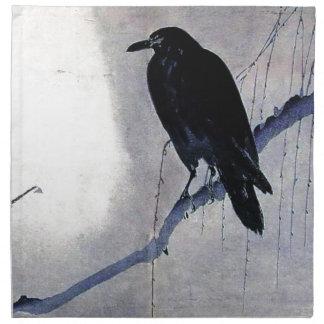 Schwarze Raben-Vogel-Antike Serviette