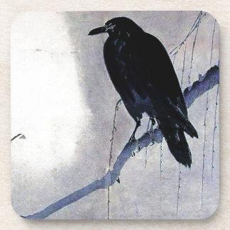 Schwarze Raben-Vogel-Antike Untersetzer