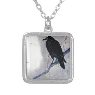 Schwarze Raben-Vogel-Antike Versilberte Kette