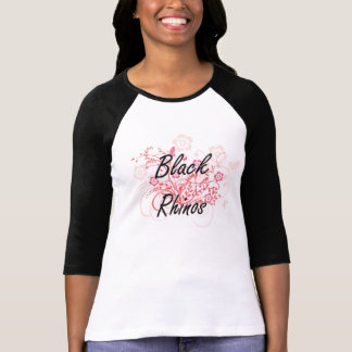 Schwarze Rhinos mit Blumenhintergrund T-Shirt