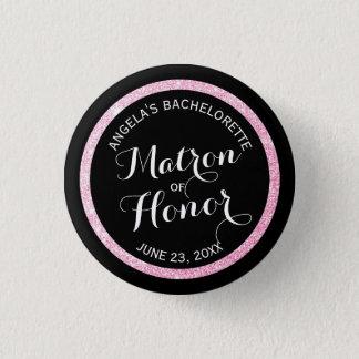 Schwarze rosa Glitter-Matrone n der Ehre Runder Button 3,2 Cm