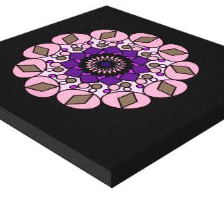 Schwarze rosa lila kosmische geometrische leinwanddruck
