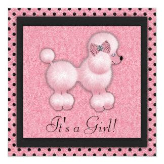 Schwarze rosa Pudel-Babyparty-Einladungen Quadratische 13,3 Cm Einladungskarte