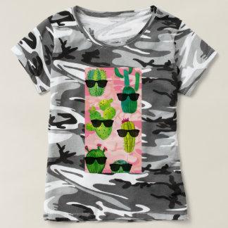 Schwarze rosa Tarnungs-cooles Kaktus-T-Shirt T-shirt
