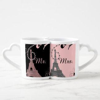 schwarze rosa Vintage Paris-Hochzeit Eiffel-Turms Liebestassen
