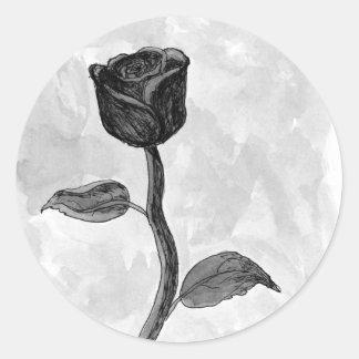 Schwarze Rose Runder Aufkleber