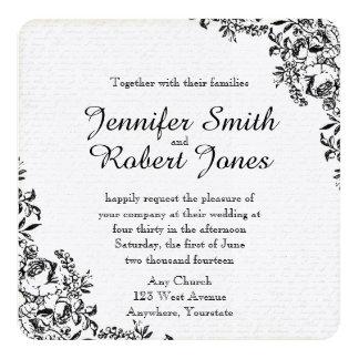Schwarze Rosen-Liebe-Buchstabe-Hochzeits-Einladung Karte