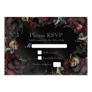 Schwarze Rosen-u. Schädel-gotische Hochzeit UAWG 8,9 X 12,7 Cm Einladungskarte