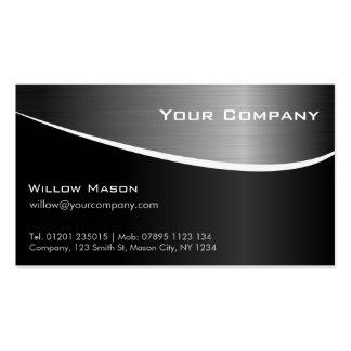 Schwarze rostfreier Stahl-berufliche Visitenkartenvorlagen