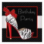 Schwarze rote Zebra-Geburtstags-Party Einladungen