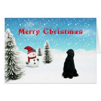Schwarze Russe-Terrier-Weihnachtskarte Karte