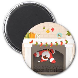 schwarze Sankt fest im Kamin Runder Magnet 5,1 Cm