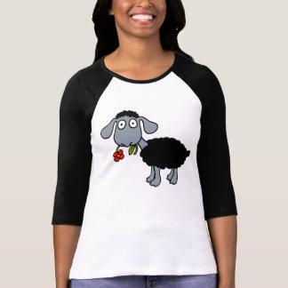 Schwarze Schaf-Lamm mit rote Blumen-grauem Weiß T-Shirt