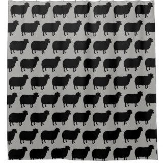 Schwarze Schaf-Silhouette-Muster Duschvorhang