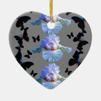 SCHWARZE SCHMETTERLINGS-PASTELLiris-GRAU-KUNST Keramik Ornament