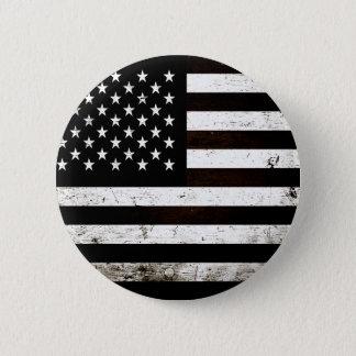 Schwarze Schmutz-amerikanische Flagge 2 Runder Button 5,7 Cm