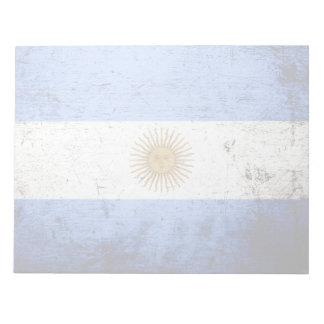 Schwarze Schmutz-Argentinien-Flagge Notizblock