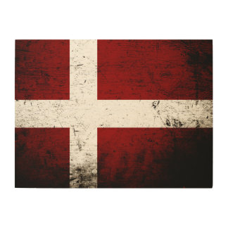 Schwarze Schmutz-Dänemark-Flagge Holzleinwand