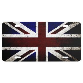 Schwarze Schmutz-England-Flagge 1 US Nummernschild