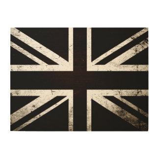 Schwarze Schmutz-England-Flagge 4 Holzwanddeko