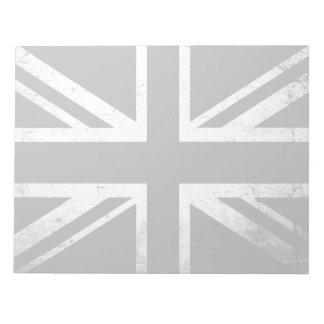 Schwarze Schmutz-England-Flagge 4 Notizblock