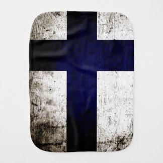 Schwarze Schmutz-Finnland-Flagge Baby Spucktuch
