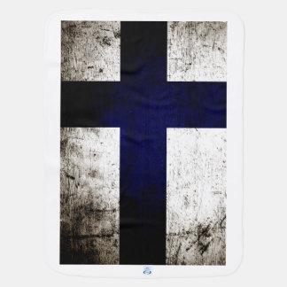 Schwarze Schmutz-Finnland-Flagge Babydecke