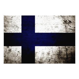 Schwarze Schmutz-Finnland-Flagge Fotografische Drucke