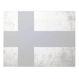 Schwarze Schmutz-Finnland-Flagge Notizblock